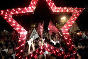 Militantes do PT comemoram vitoria de Lula - Fortaleza, CE, 27.10.2002 - Foto: Jaarbas Oliveira/Folha Imagem