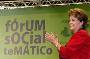 Porto Alegre - RS, 26/01/2012. Presidenta Dilma Rousseff durante Fórum Social Mundial - Diálogos entre Sociedade Civil e Governo. Foto: Roberto Stuckert Filho/PR